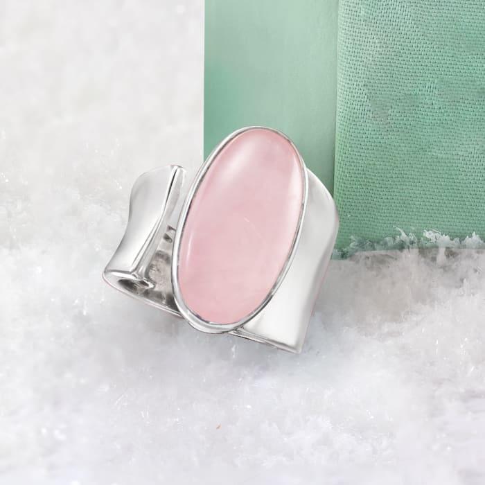 16.00 Carat Rose Quartz Wrap Ring in Sterling Silver