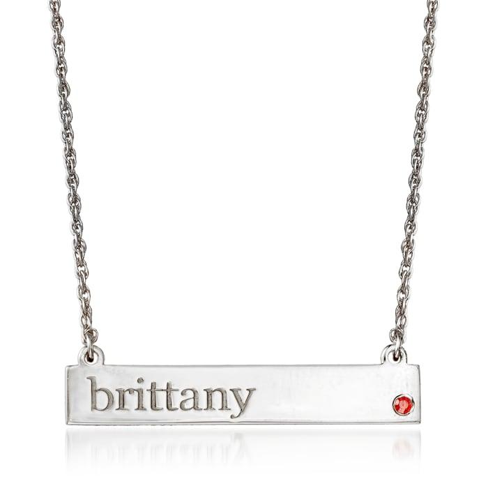 Birthstone Name Necklace in Sterling Silver Jan/Garnet