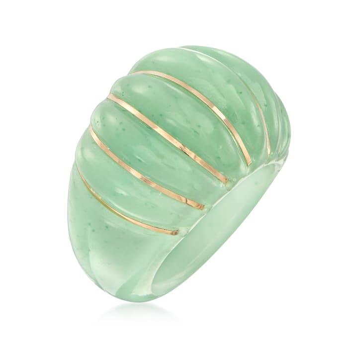 Carved Jade Shrimp Ring with 14kt Yellow Gold