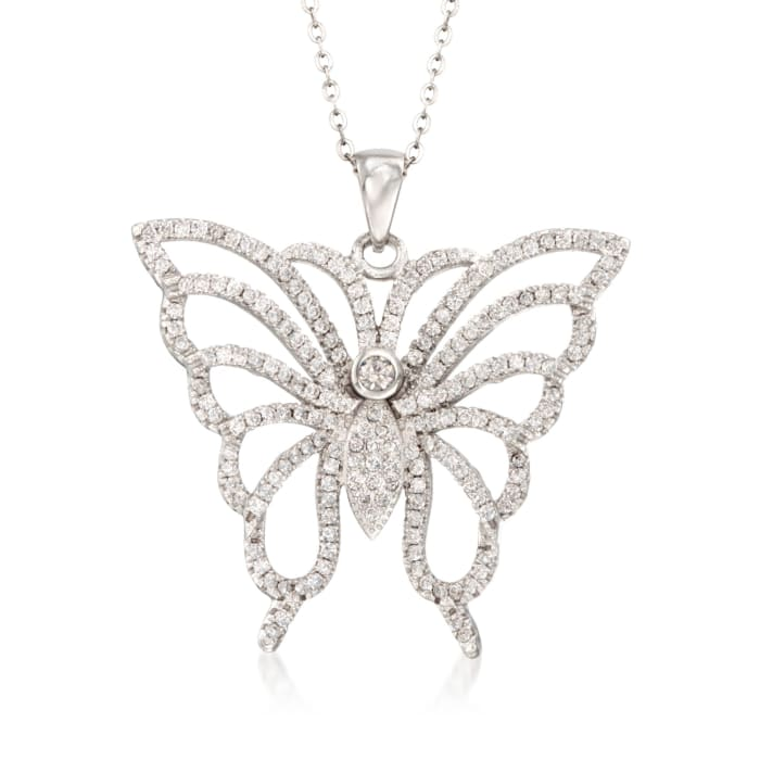 1.85 ct. t.w. CZ Butterfly Pendant Necklace in Sterling Silver