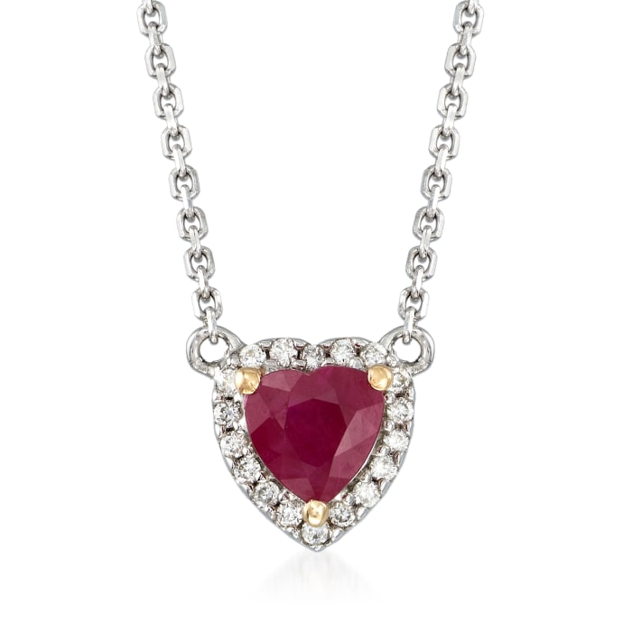 .40 Carat Ruby and Diamond-Accented Heart Pendant Necklace in 14kt Two-Tone Gold