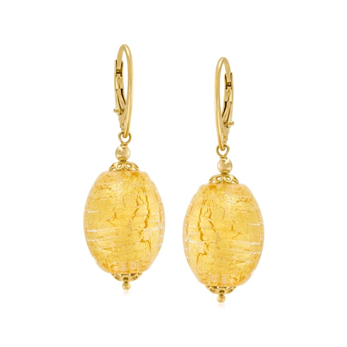 Italian Murano Glass Drop Earrings in 18kt Gold Over Sterling