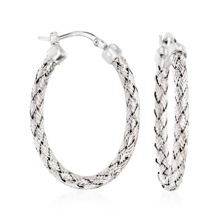 """Charles Garnier """"Milan"""" Sterling Silver Oval Hoop Earrings"""