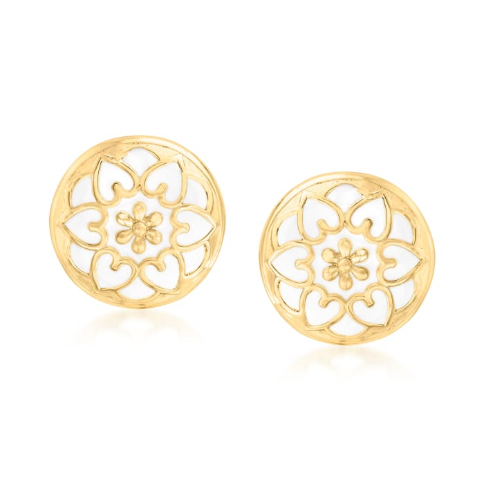 18kt Gold Over Sterling and White Enamel Floral Button Earrings