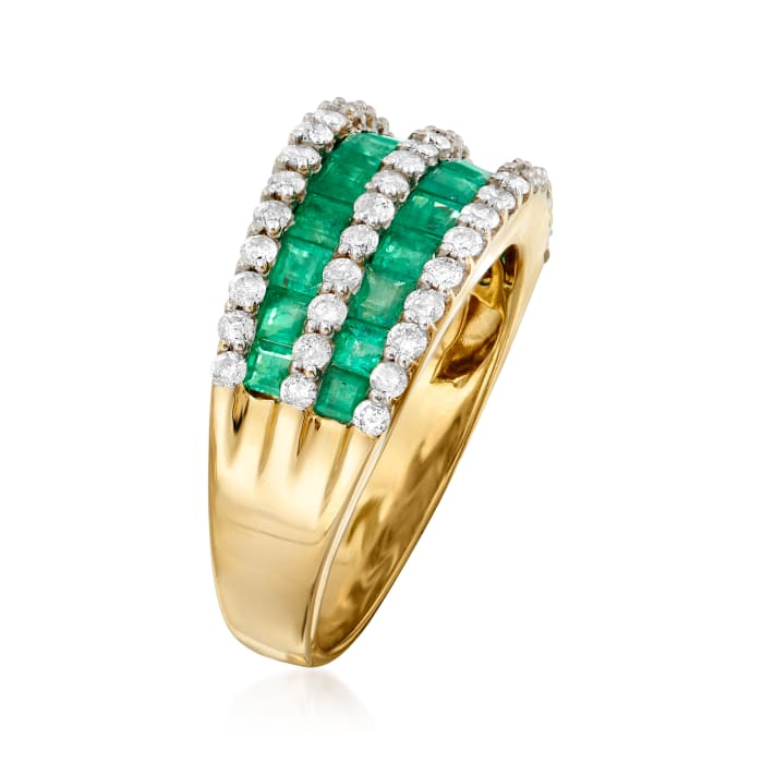 1.50 ct. t.w. Emerald and .73 ct. t.w. Diamond Multi-Row Dome Ring in 14kt Yellow Gold