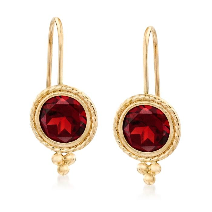 2.00 ct. t.w. Garnet Drop Earrings in 14kt Yellow Gold