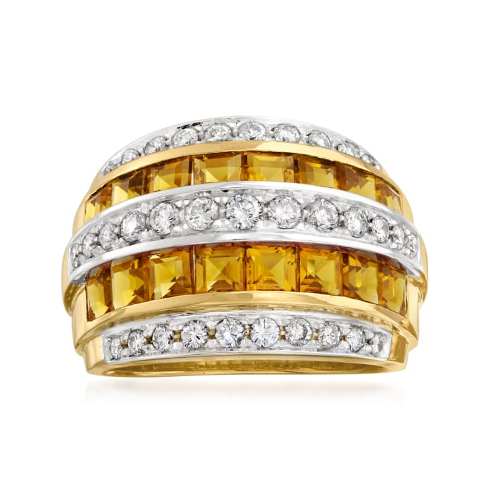 C. 1980 Vintage 2.50 ct. t.w. Citrine and .75 ct. t.w. Diamond Ring in 18kt Yellow Gold