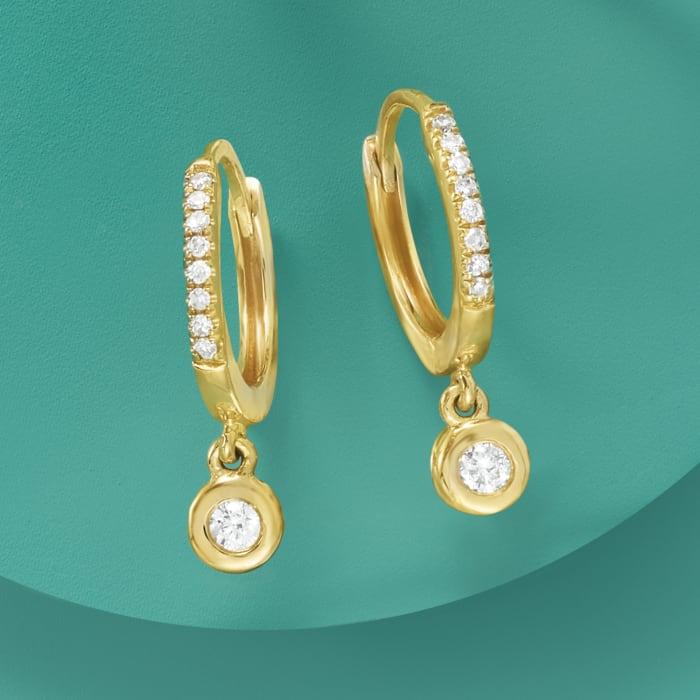 .14 ct. t.w. Diamond Charm Petite Hoop Earrings in 14kt Yellow Gold