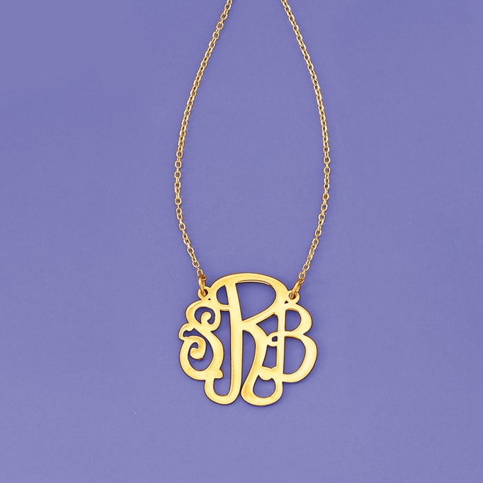 14kt Yellow Gold Small Script Monogram Necklace