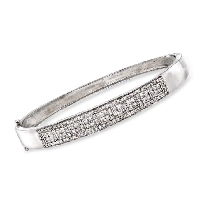 C. 1990 Vintage 2.15 ct. t.w. Diamond Bangle Bracelet in 14kt White Gold
