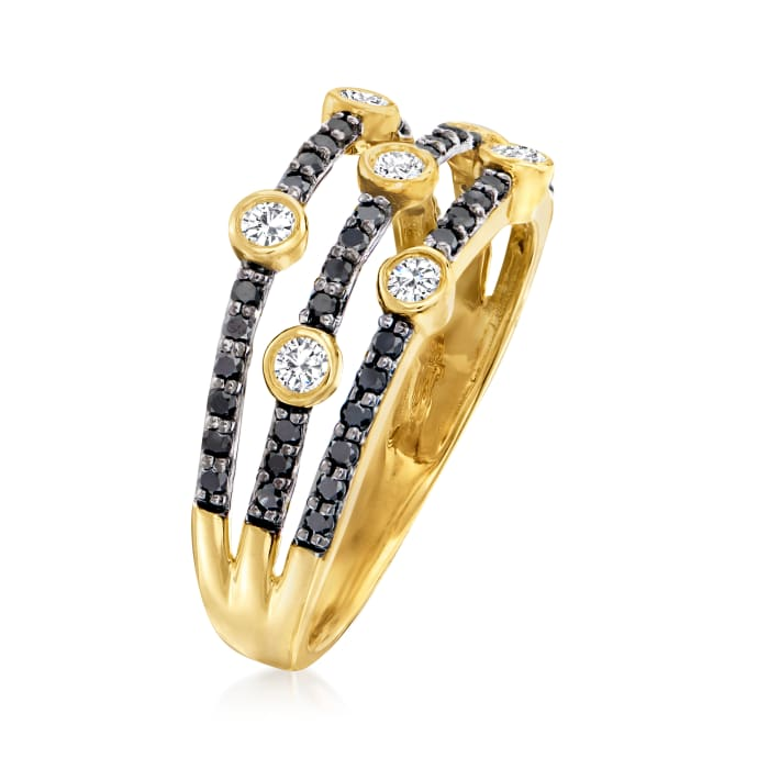 .50 ct. t.w. Black and White Diamond Three-Row Ring in 14kt Yellow Gold