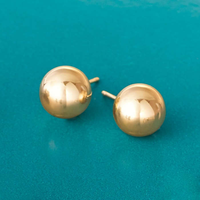 8mm 14kt Yellow Gold Ball Stud Earrings