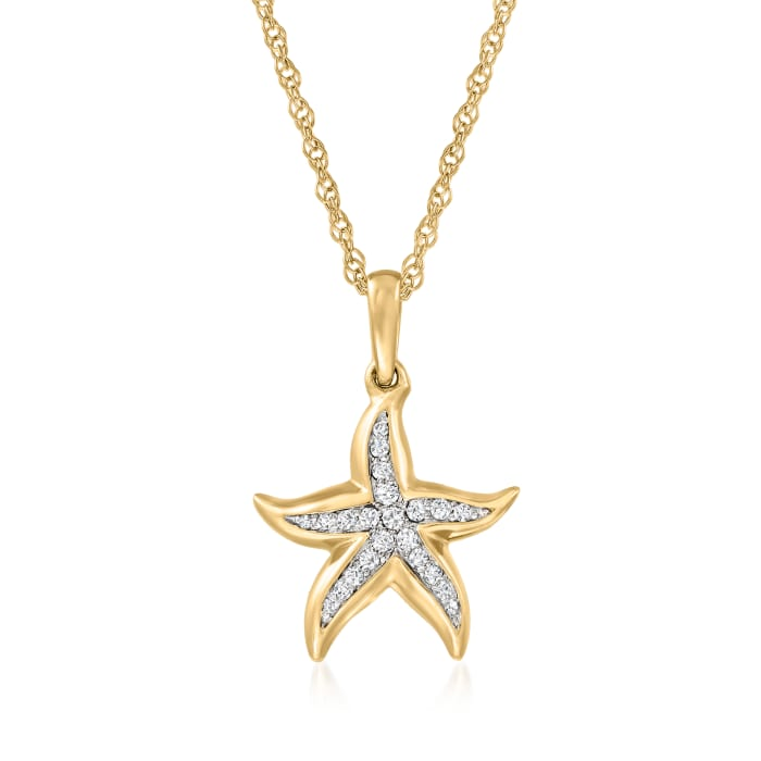 .10 ct. t.w. Diamond Starfish Pendant Necklace in 18kt Gold Over Sterling