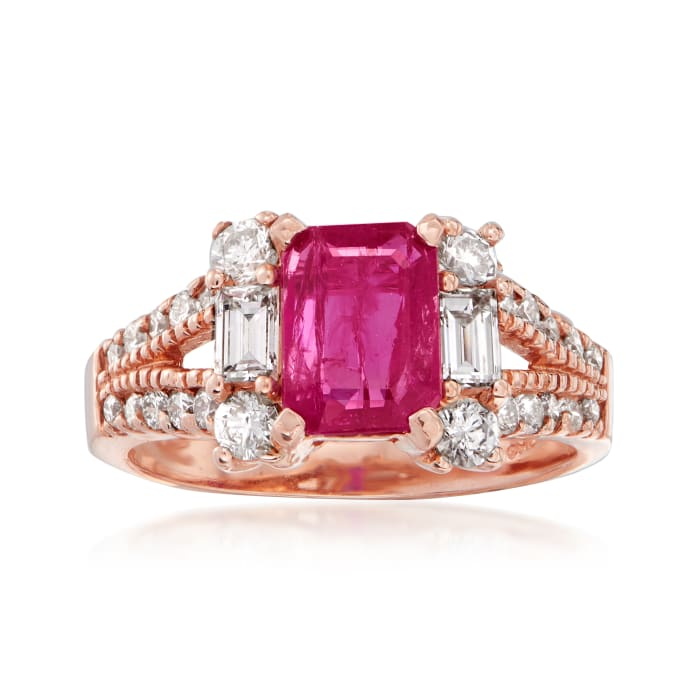 1.75 Carat Ruby and .63 ct. t.w. Diamond Ring in 14kt Rose Gold