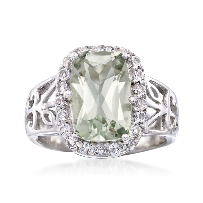 3.00 Carat Prasiolite and .60 ct. t.w. White Topaz Floral Ring in Sterling Silver