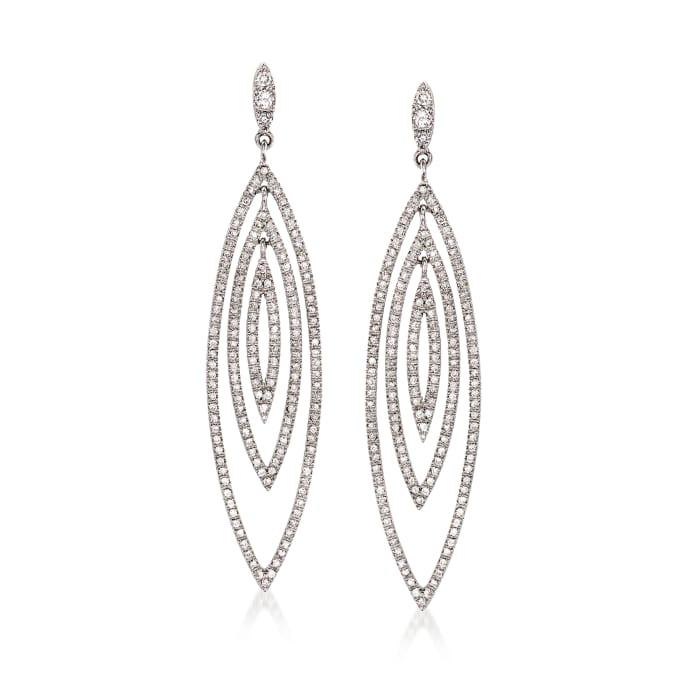 C. 1990 Vintage 2.09 ct. t.w. Diamond Open-Space Geometric Drop Earrings in 14kt White Gold