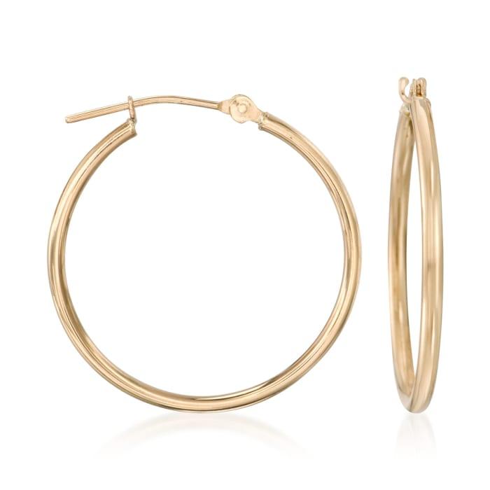 1.5mm 14kt Yellow Gold Medium Hoop Earrings