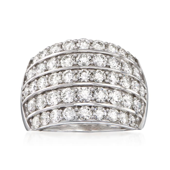 3.00 ct. t.w. Diamond Five-Row Dome Ring in 14kt White Gold