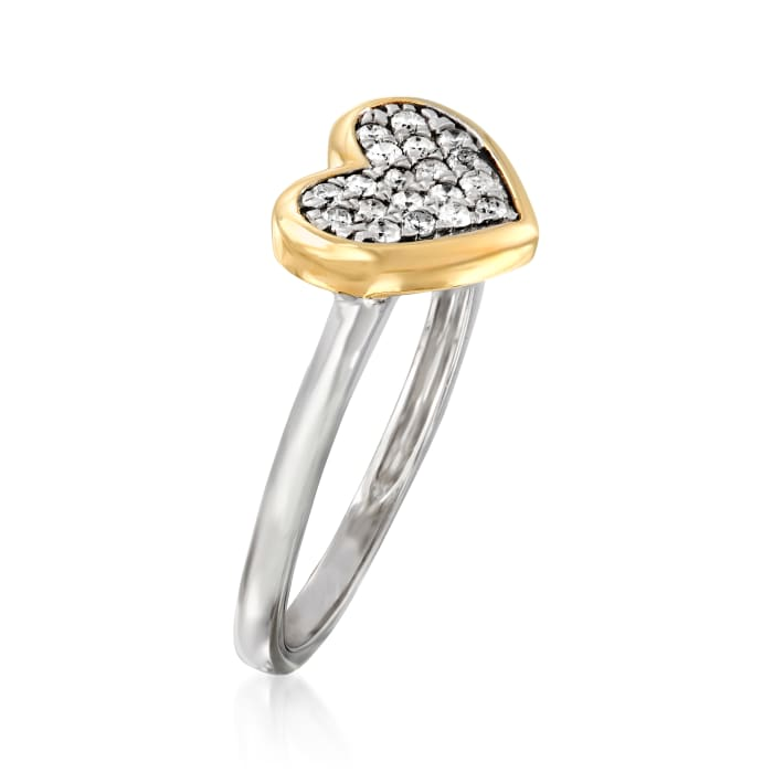 .25 ct. t.w. Diamond Heart Ring in Sterling Silver and 14kt Yellow Gold
