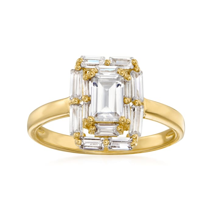1.03 ct. t.w. CZ Halo Ring in 18kt Gold Over Sterling