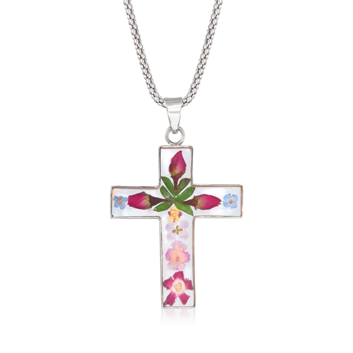 Dried Flower Cross Pendant Necklace in Sterling Silver