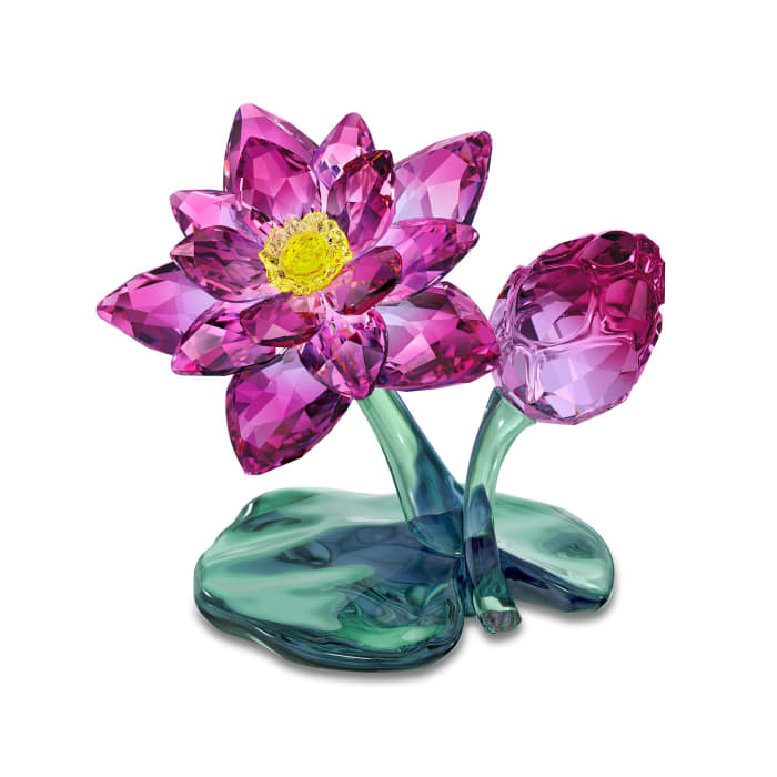 Swarovski Crystal Purple and Green Lotus Flower Figurine