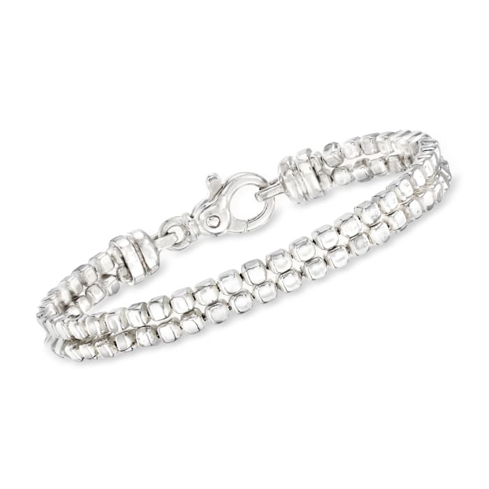 """Zina Sterling Silver """"Ice Cube"""" Double Chain Bracelet"""