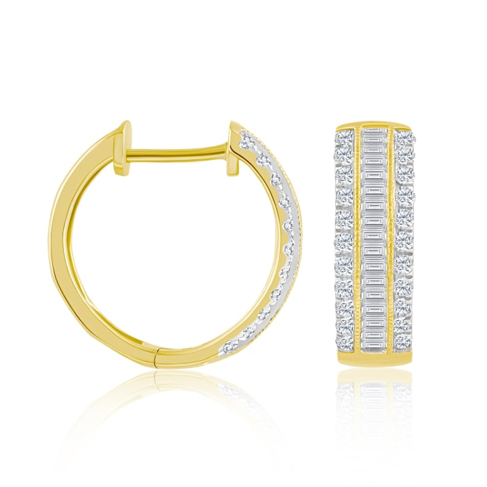 .50 ct. t.w. Baguette and Round Diamond Hoop Earrings in 14kt Yellow Gold