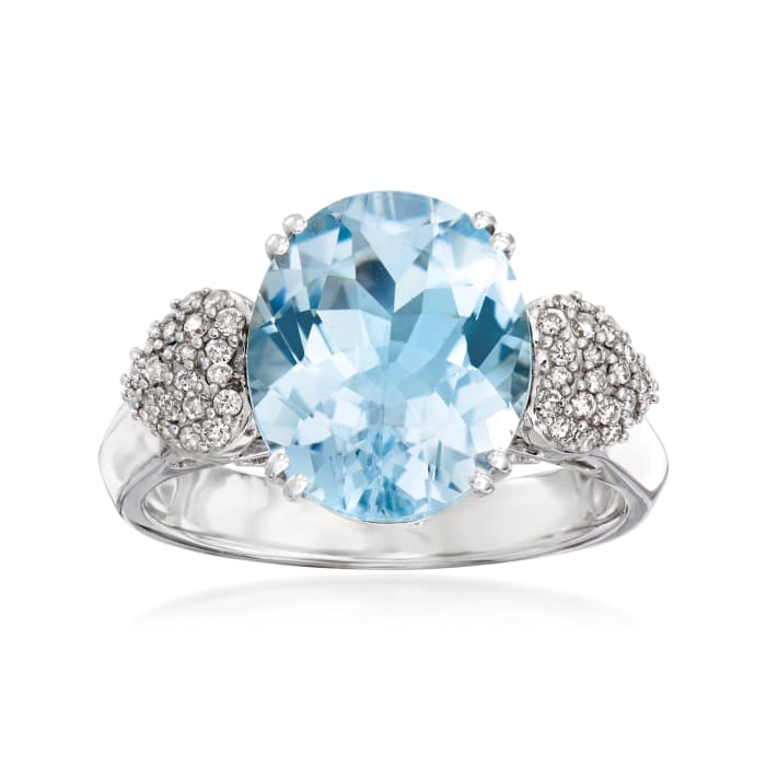 4.00 Carat Aquamarine and .21 ct. t.w. Diamond Ring in 14kt White Gold