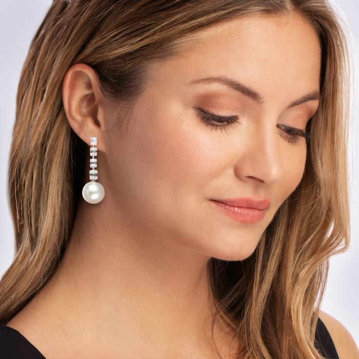 14-15mm Cultured South Sea Pearl and 1.50 ct. t.w. Baguette and Round Diamond Drop Earrings in 18kt White Gold