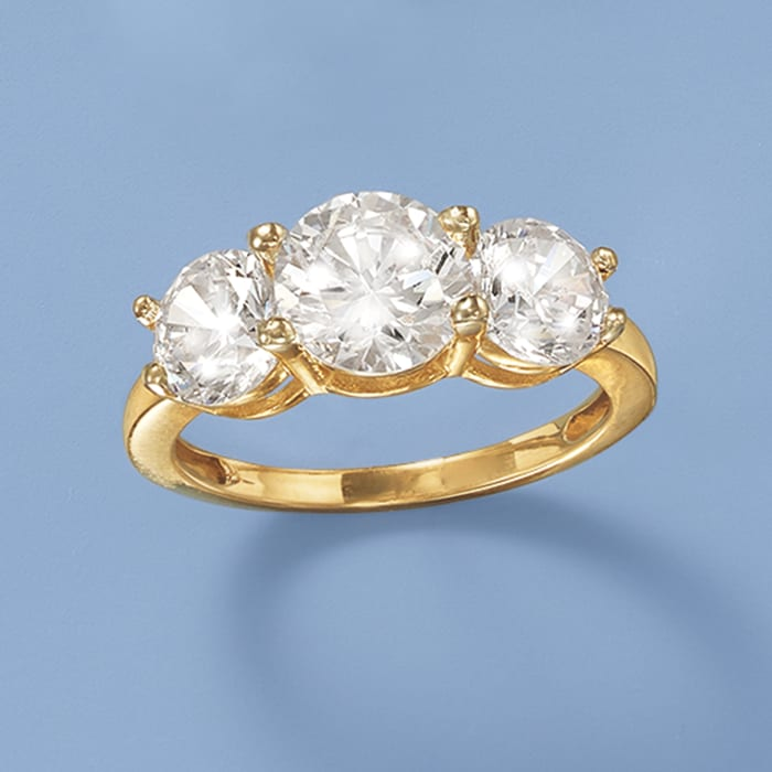 4.00 ct. t.w. CZ Three-Stone Ring in 14kt Yellow Gold
