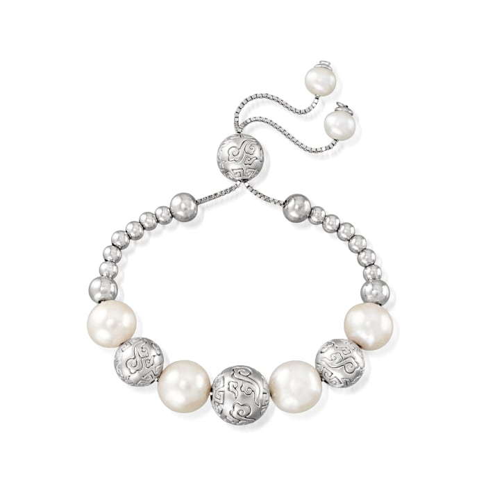 6-11mm Cultured Pearl and 4-12mm Sterling Silver Beaded Bolo Bracelet
