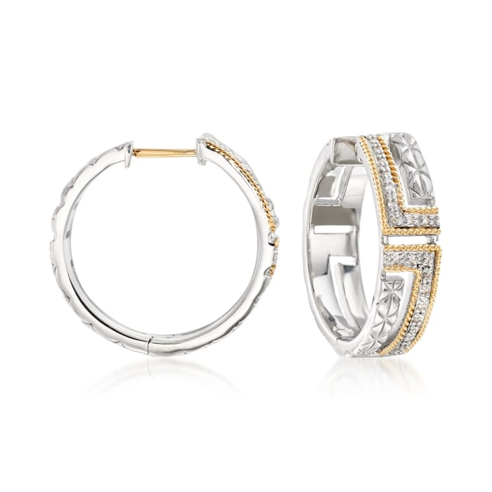"""Andrea Candela """"Laberinto"""" .10 ct. t.w. Diamond Hoop Earrings in 18kt Gold and Sterling Silver"""