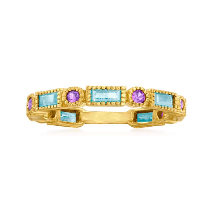 1.40 ct. t.w. Sky Blue Topaz and .50 ct. t.w. Rhodolite Garnet Ring in Sterling Silver