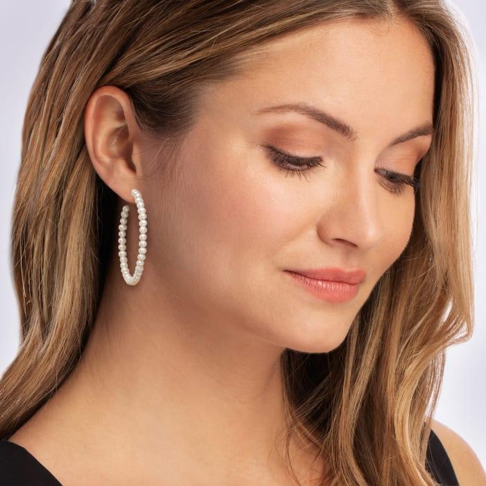 3-3.5mm Cultured Pearl C-Hoop Earrings in Sterling Silver