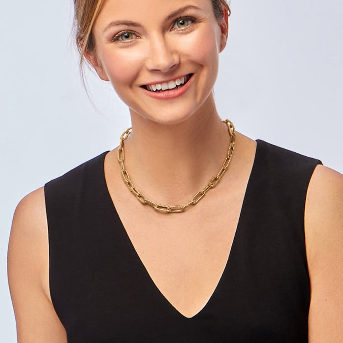 Italian 14kt Yellow Gold Textured Paper Clip Link Necklace  18-inch