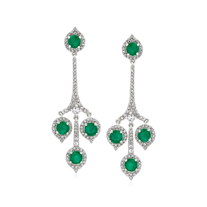 2.40 ct. t.w. Emerald and 1.20 ct. t.w. White Topaz Drop Earrings in Sterling Silver
