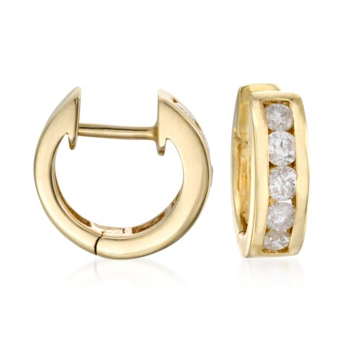 .75 ct. t.w. Diamond Hoop Earrings in 14kt Yellow Gold