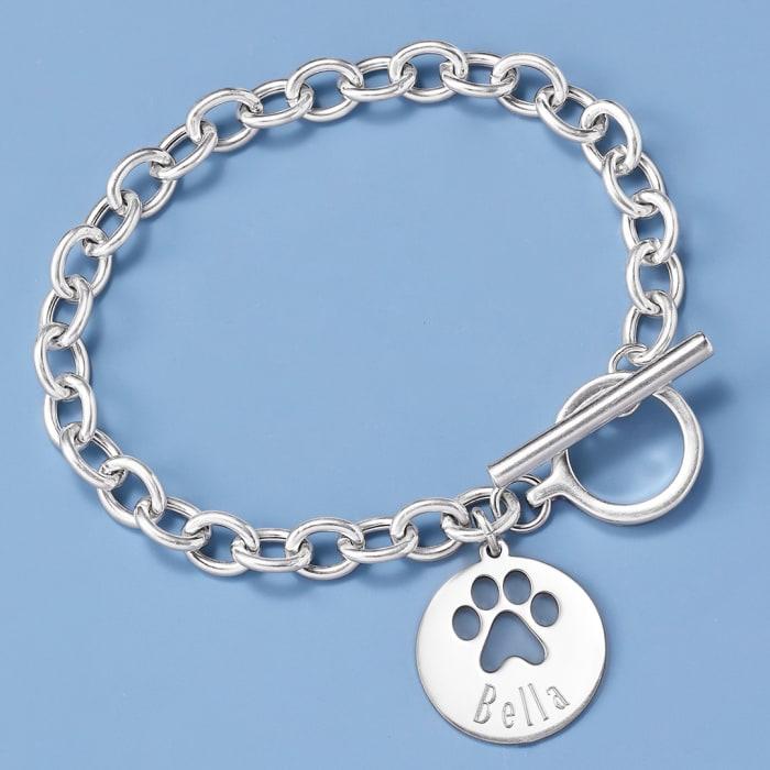 Sterling Silver Personalized Paw Print Bracelet