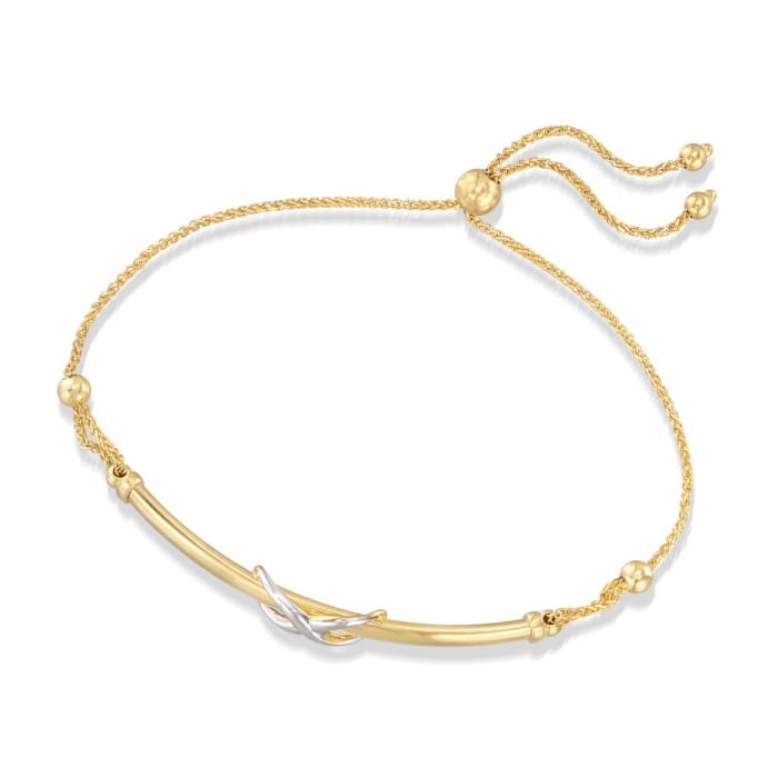 14kt Two-Tone Gold Infinity Symbol Bar Bolo Bracelet