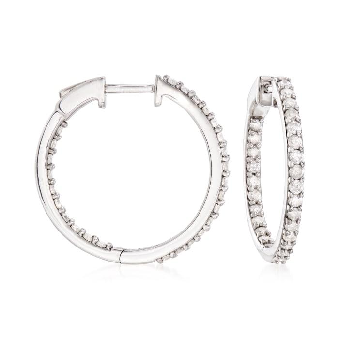 1.00 ct. t.w. Diamond Inside-Outside Hoop Earrings in Sterling Silver