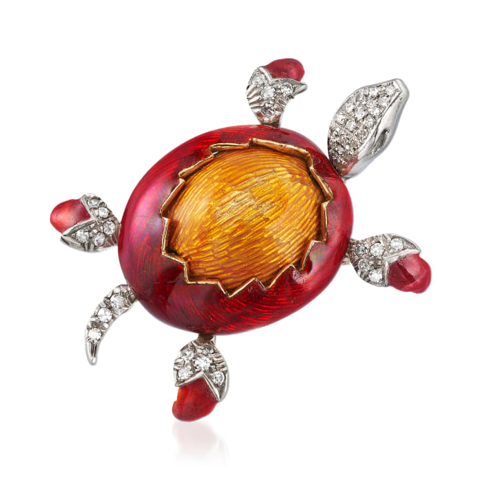 C. 1980 Vintage .45 ct. t.w. Diamond Turtle Pin with Red and Orange Enamel in 18kt Two-Tone Gold