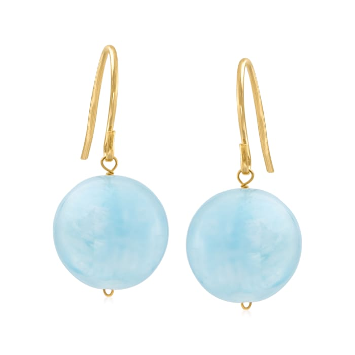 12mm Aquamarine Drop Earrings in 14kt Yellow Gold