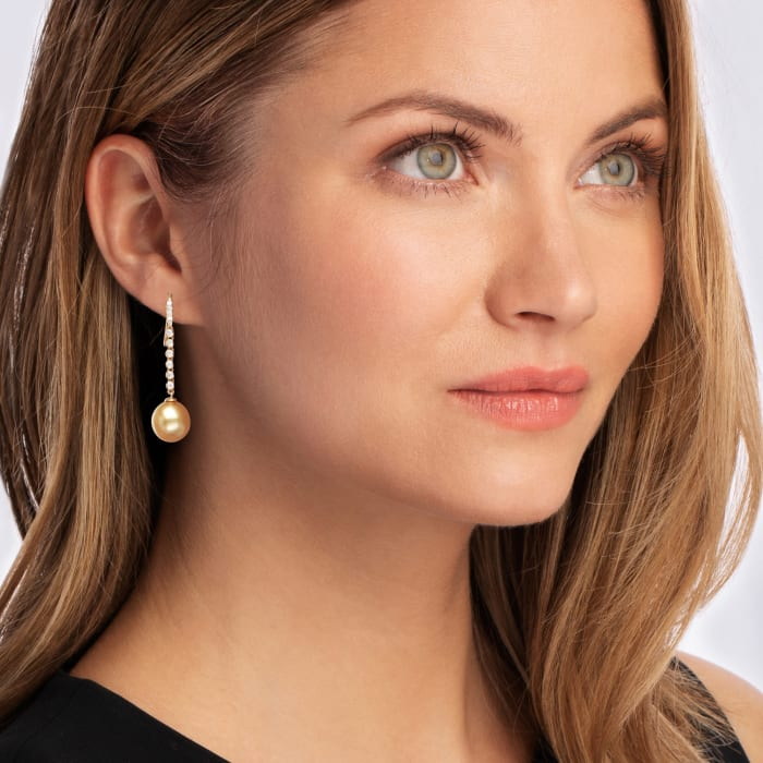 11-12mm Golden South Sea Pearl and .34 ct. t.w. Diamond Drop Earrings in 18kt Yellow Gold