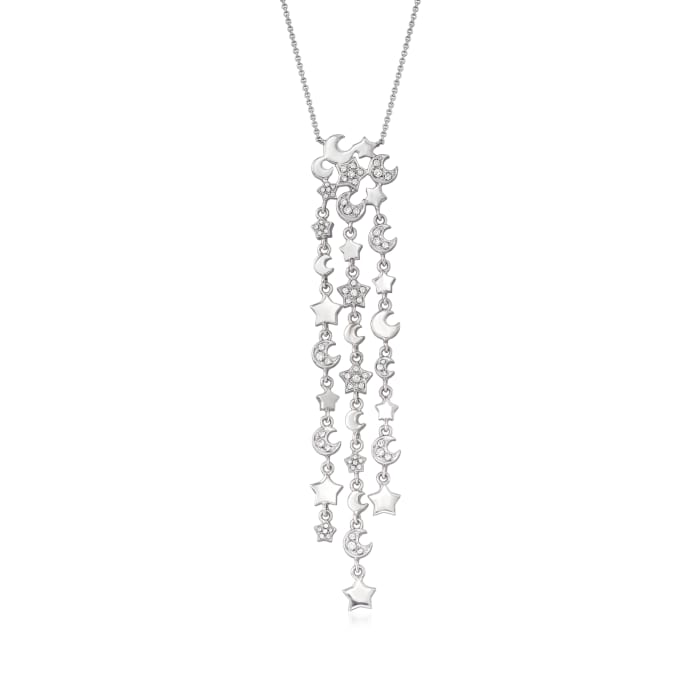 C. 2000 Vintage Pasquale Bruni .52 ct. t.w. Diamond Star Drop Necklace with Sapphire Accent in 18kt White Gold