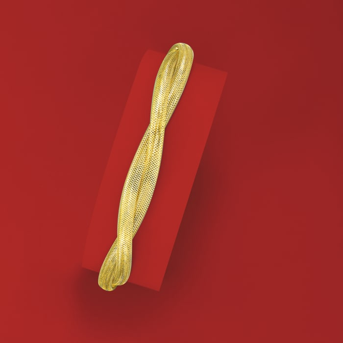 Italian 14kt Yellow Gold Double-Mesh Bangle Bracelet