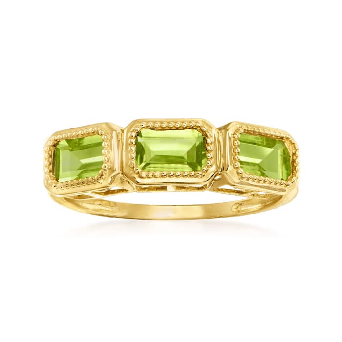 1.50 ct. t.w. Peridot Three-Stone Ring in 14kt Yellow Gold
