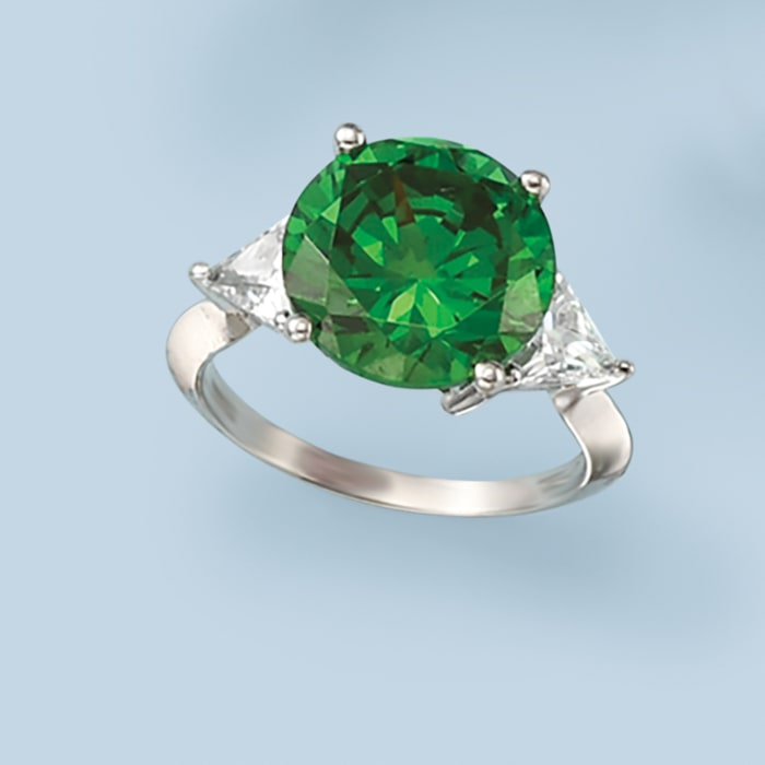 6.25 Carat Simulated Emerald and 1.50 ct. t.w. CZ Ring in Sterling Silver