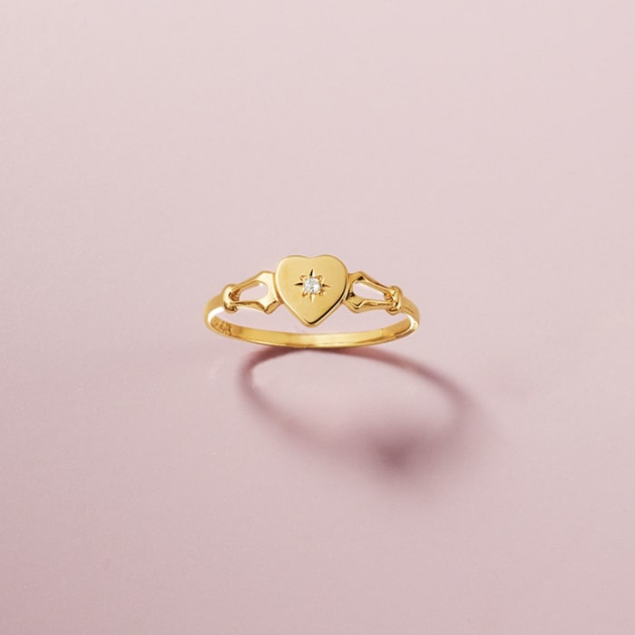 Child's 14kt Yellow Gold Heart Ring with Diamond Accent