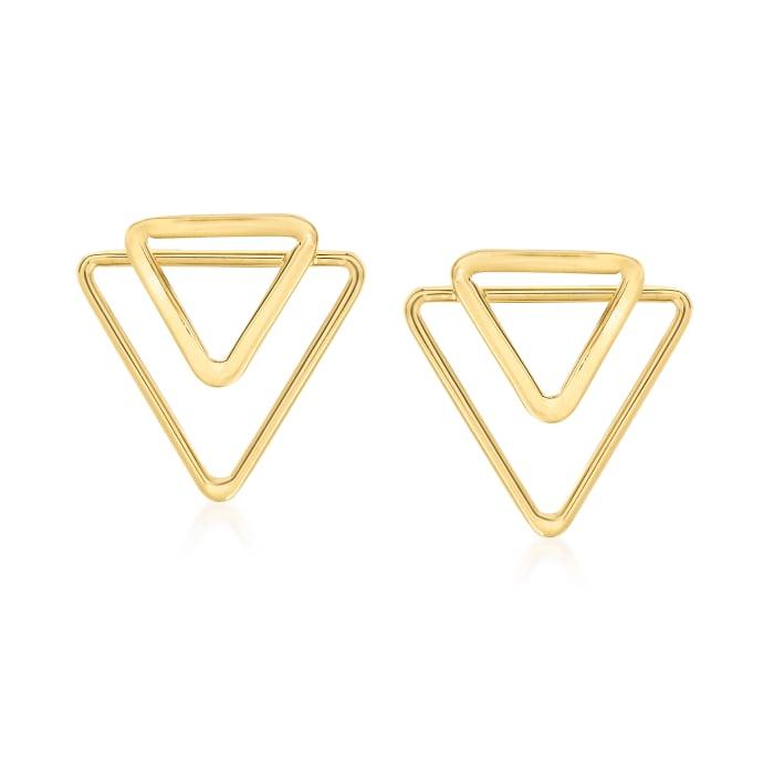 14kt Yellow Gold Double Open-Triangle Earrings